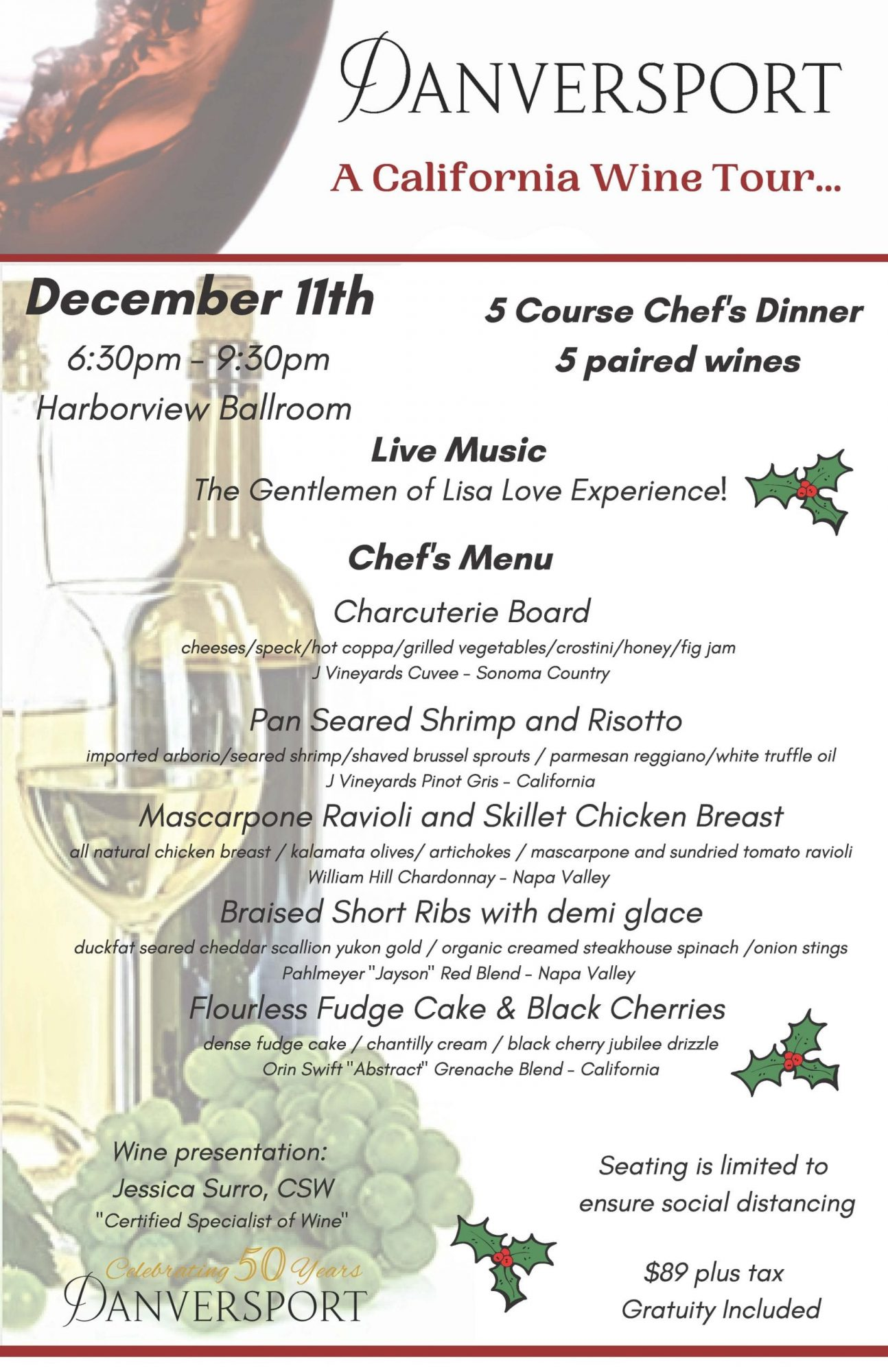 Holiday Wine Dinner Menu